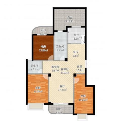 宏基花园3室2厅2卫1厨166.00㎡户型图