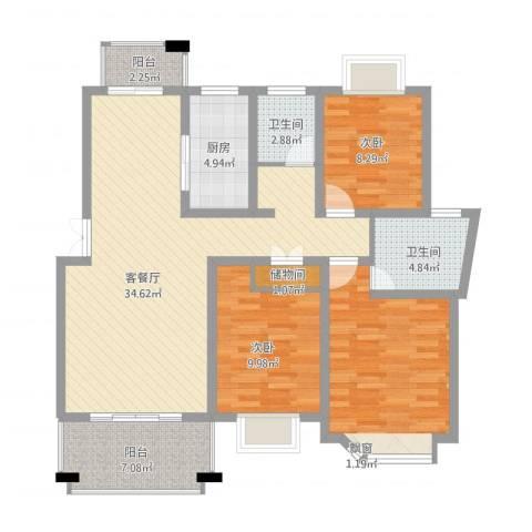 国际花都丹若苑3室2厅2卫1厨131.00㎡户型图