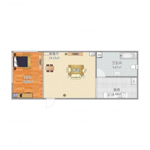 购物中心1室2厅1卫1厨75.00㎡户型图