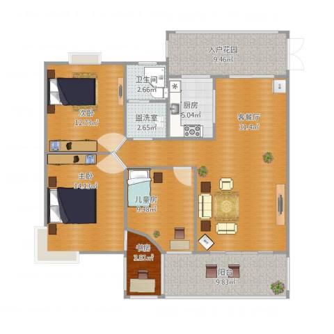 水安盛世桃源4室4厅2卫1厨136.00㎡户型图