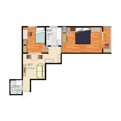 航天社区2室1厅1卫1厨61.00㎡户型图