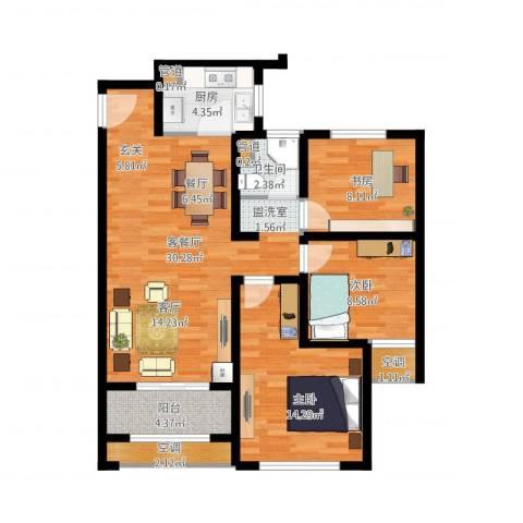 高科麓湾国际社区3室2厅1卫1厨111.00㎡户型图