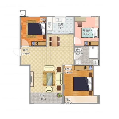 恒安新东城学院派2室1厅1卫1厨98.00㎡户型图