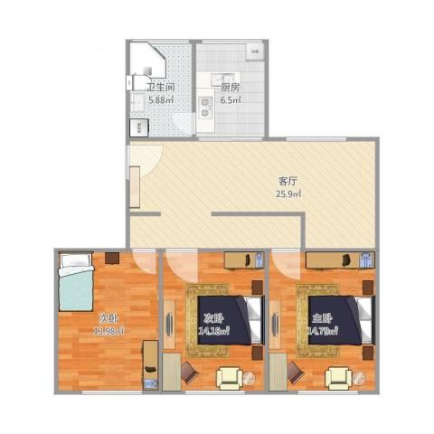 盛桥二村3室1厅1卫1厨109.00㎡户型图