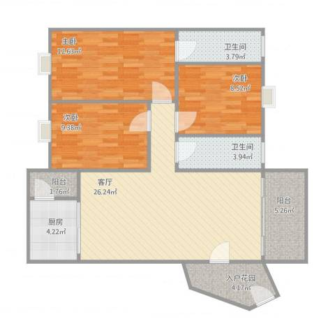 廊桥名轩3室1厅2卫1厨109.00㎡户型图