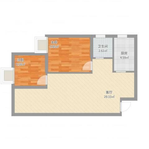 巨宇江南2室1厅1卫1厨74.00㎡户型图