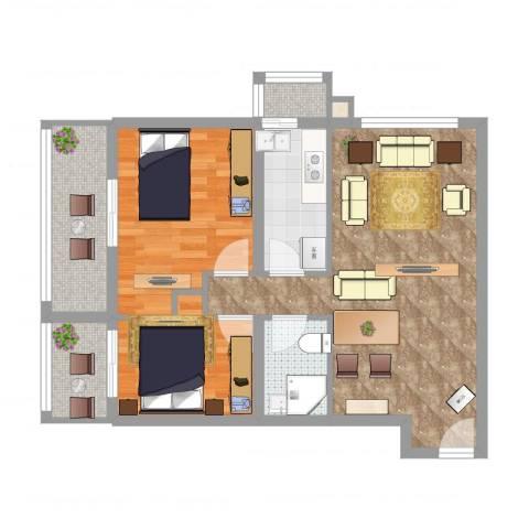 百家湖别墅花园2室2厅1卫1厨74.00㎡户型图