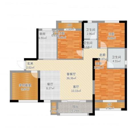 中航山水蓝天3室2厅2卫1厨149.00㎡户型图