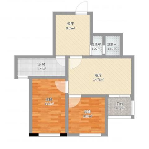 管庄西里2室4厅1卫1厨82.00㎡户型图