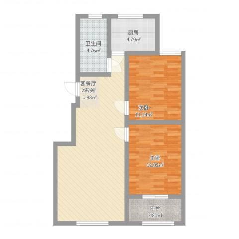 都市新村2室2厅1卫1厨94.00㎡户型图