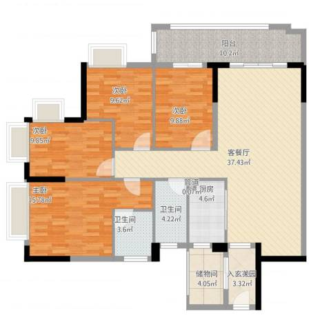 罗村风度花园4室2厅4卫1厨159.00㎡户型图