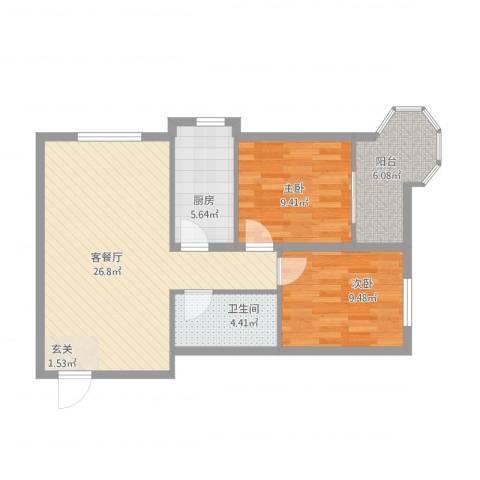 帝景公馆2室2厅1卫1厨87.00㎡户型图