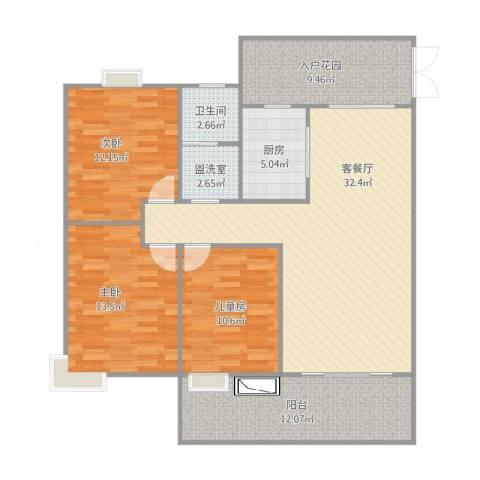 水安盛世桃源3室4厅1卫1厨136.00㎡户型图