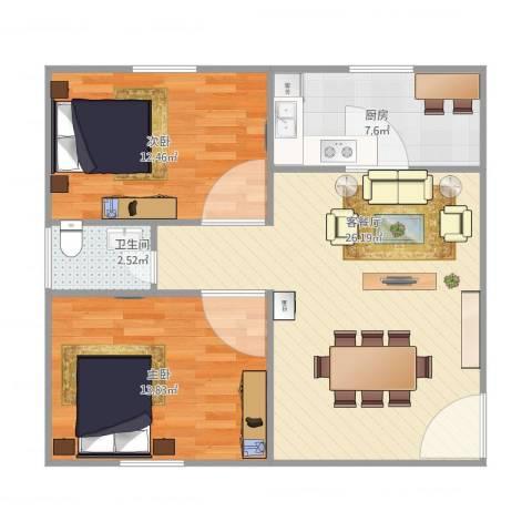 丽景新苑2室2厅1卫1厨84.00㎡户型图