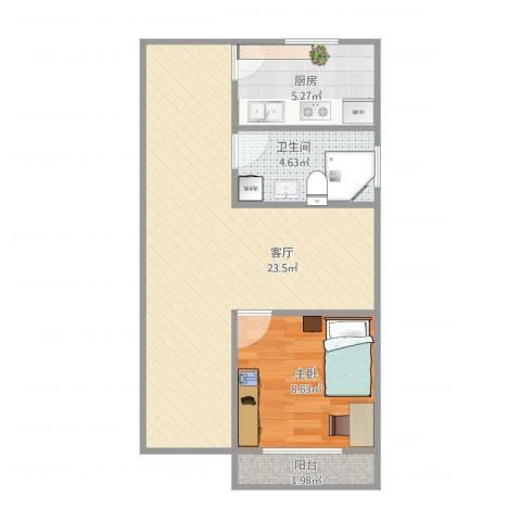 东南三村1室1厅1卫1厨60.00㎡户型图
