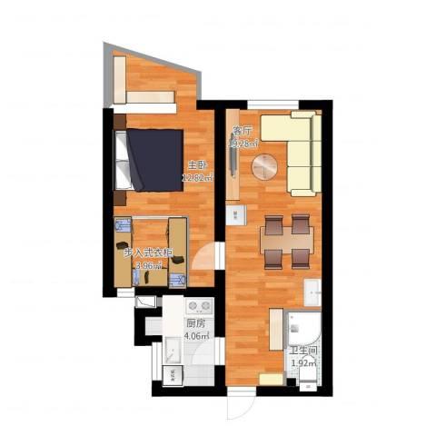 东方东路1室1厅1卫1厨63.00㎡户型图