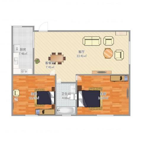 fghfhg2室1厅1卫1厨100.00㎡户型图
