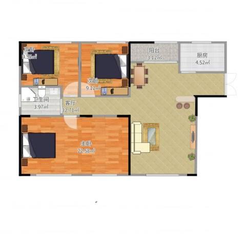 月亮湾草莓街区3室1厅1卫1厨115.00㎡户型图