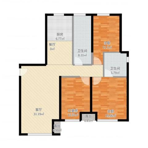 金地西沣公元3室2厅2卫1厨126.00㎡户型图