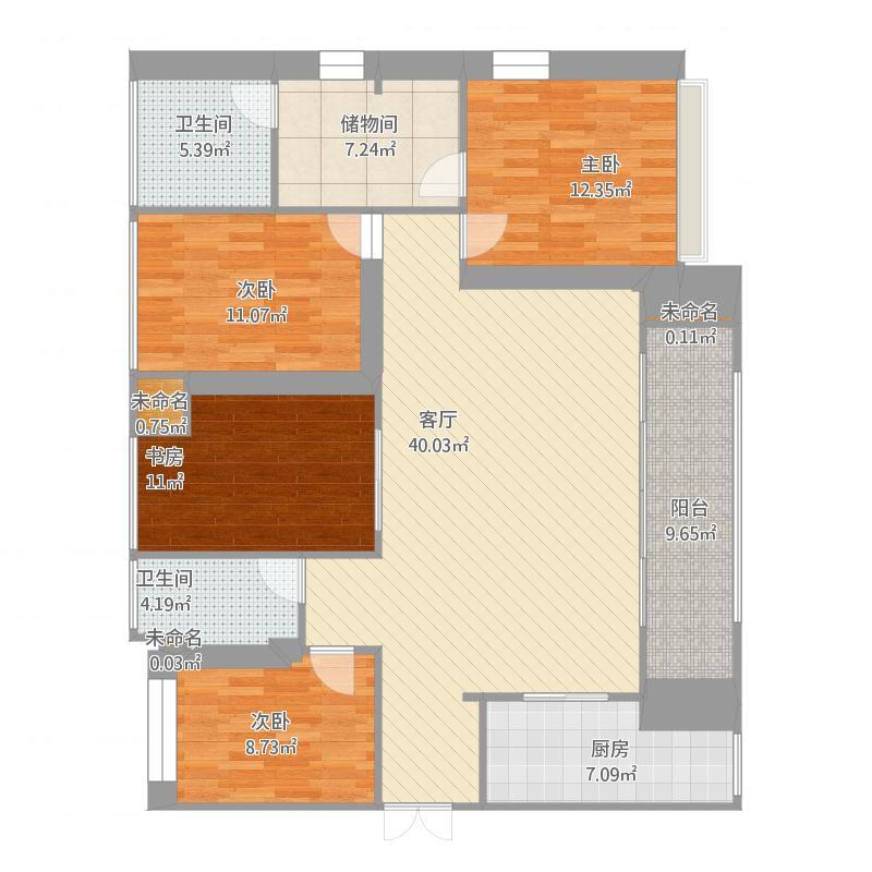 1栋B户型3室2厅3卫1厨166