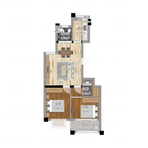 华都颐年园3室2厅1卫1厨73.00㎡户型图