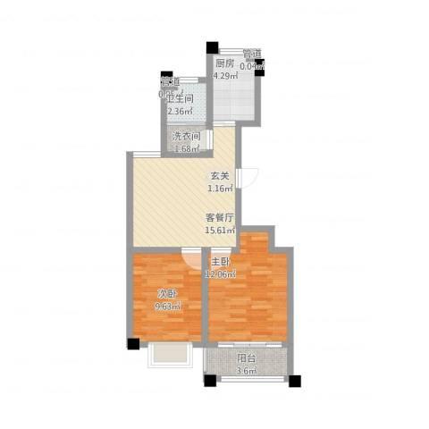 华都颐年园2室2厅1卫1厨73.00㎡户型图