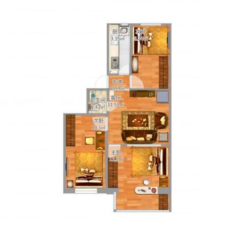 杨家园西里第二版3室1厅1卫1厨67.00㎡户型图