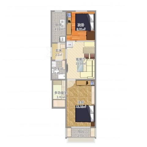 前泥洼一区2室2厅1卫1厨65.00㎡户型图