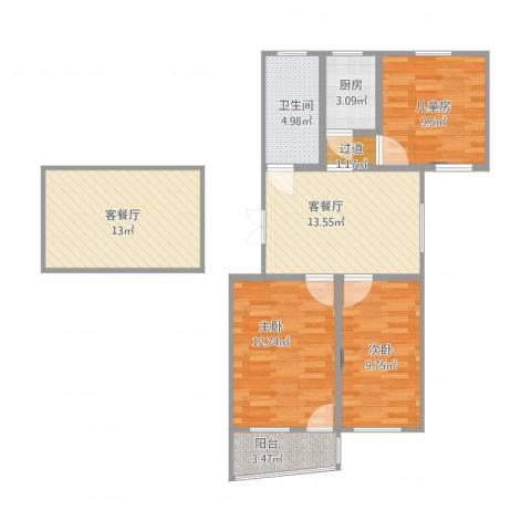 秀东新村40号楼301室3室4厅2卫1厨99.00㎡户型图