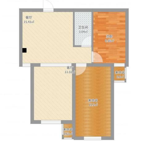丽景蓝湾C区1室2厅3卫1厨76.00㎡户型图