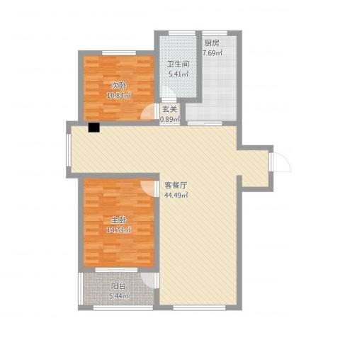 苏建名都城2室2厅1卫1厨128.00㎡户型图