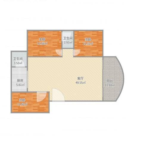 金丽花园3室1厅2卫1厨146.00㎡户型图