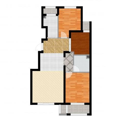 首开・缇香郡3室2厅1卫1厨86.00㎡户型图