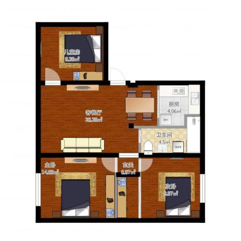 龙柏三村3室2厅1卫1厨91.00㎡户型图