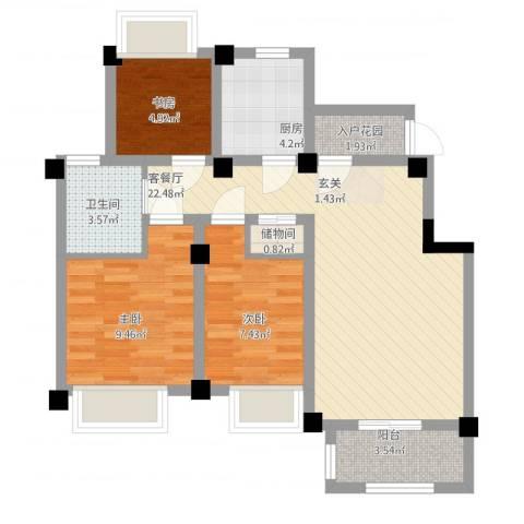 澳海胥江湾3室2厅1卫1厨88.00㎡户型图