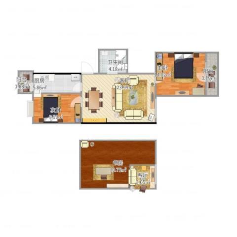 青塔东里3室2厅1卫1厨115.00㎡户型图