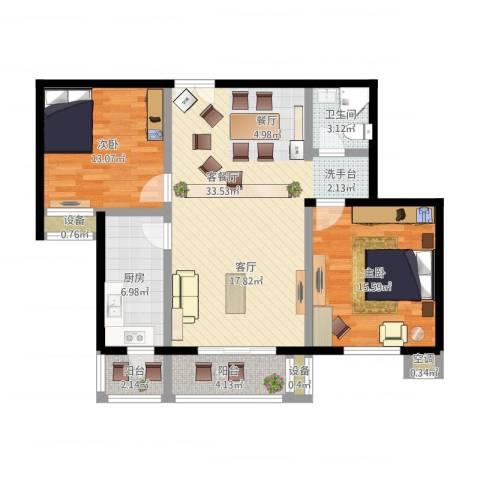 青塔东里小区2室2厅1卫1厨116.00㎡户型图
