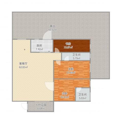 华景苑3室2厅2卫1厨297.00㎡户型图