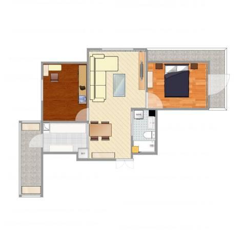 远创樾府2室1厅1卫1厨76.00㎡户型图