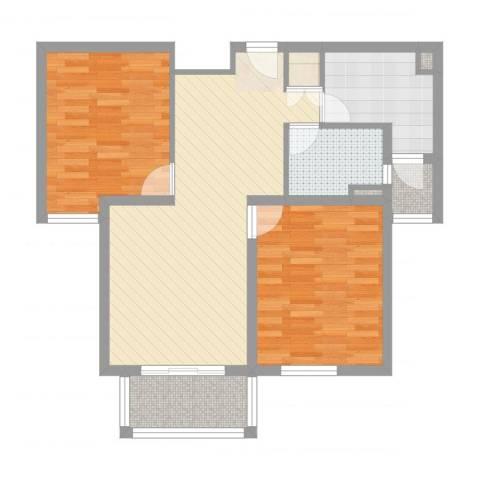 绿地崴廉公寓二期2室2厅1卫1厨78.00㎡户型图