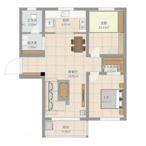 弘达明尚2室2厅1卫1厨103.00㎡户型图