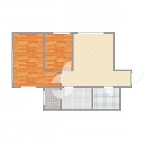 亿合城2室2厅1卫1厨63.00㎡户型图