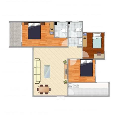 锦尚名城7-1-17043室2厅2卫1厨99.00㎡户型图