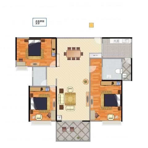 广州亚运城天誉3室2厅2卫1厨150.00㎡户型图