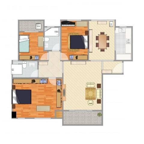 华尔国际B23室2厅2卫1厨129.00㎡户型图
