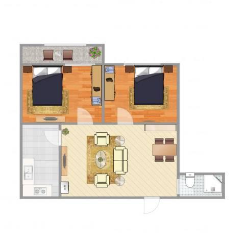 蓝天苑2室1厅1卫1厨70.00㎡户型图