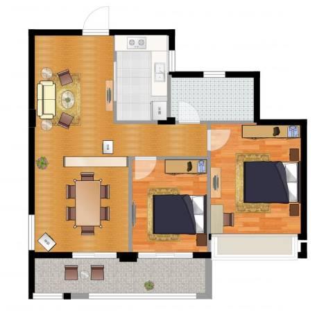 曙光之城2室2厅1卫1厨91.00㎡户型图