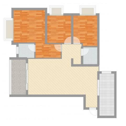 富洲新城户型96²(2)3室1厅2卫1厨109.00㎡户型图