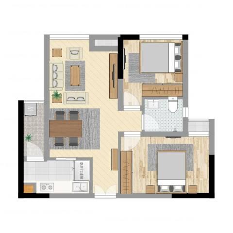 大有智慧广场2室2厅4卫1厨62.00㎡户型图