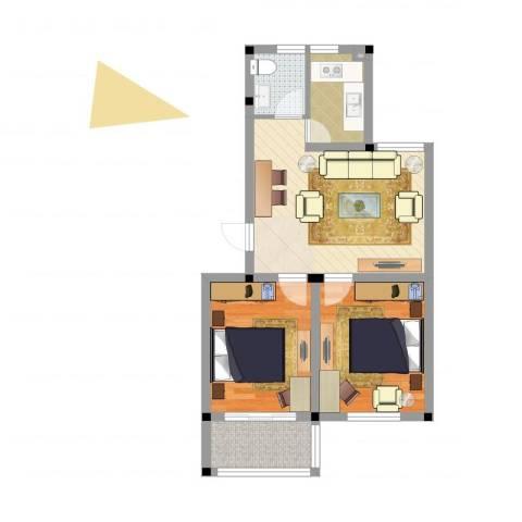 百悦家花园2室1厅1卫1厨61.00㎡户型图